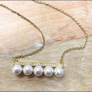 Pearls on CZ Bar Necklace,NWT